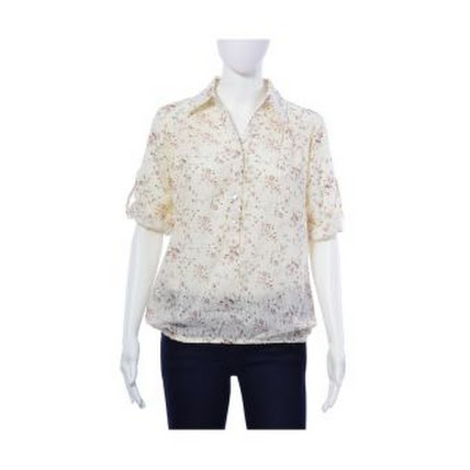 Lazada Women's Blouse  Dion & Mary Leila Pop Blouse (Off White Floral)
