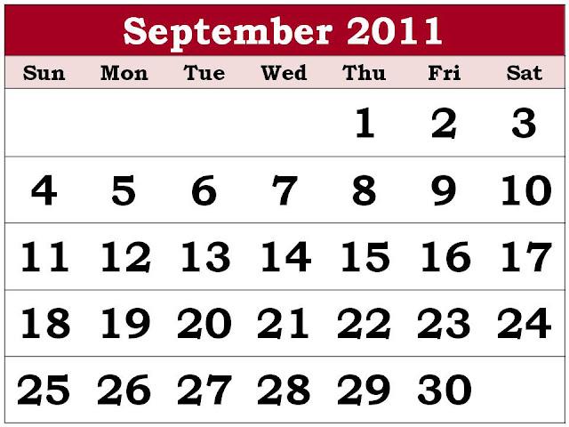 calendar september 2011. Calendar September 2011 with