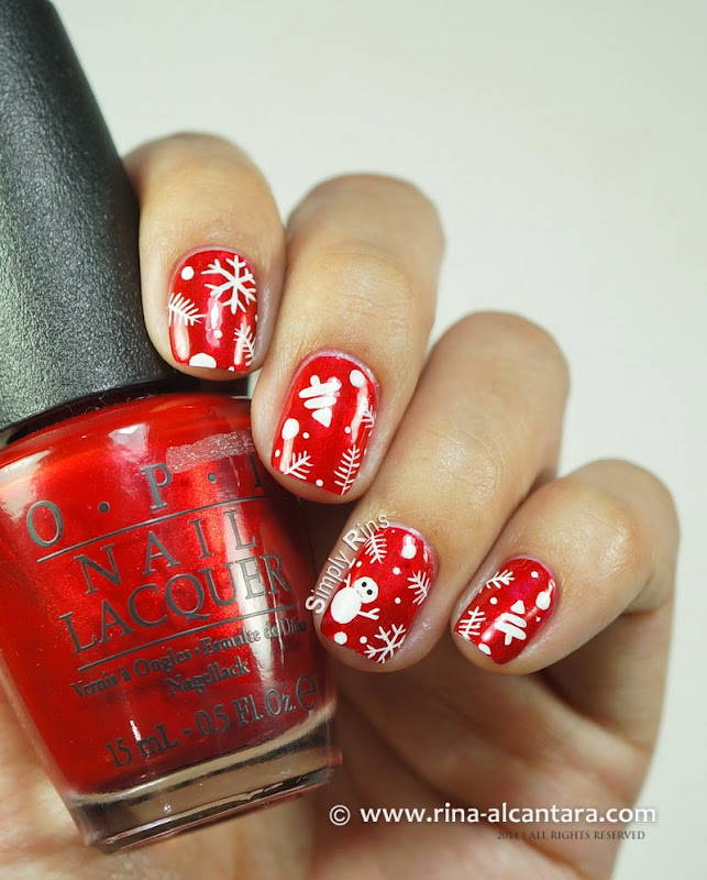 Christmas Wrapper Nail Art on OPI Danke-Shiny Red