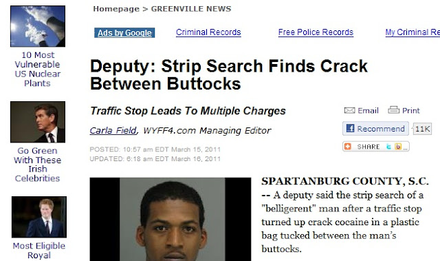 Greenville News headline, Strip Search Finds Crack Between Buttocks