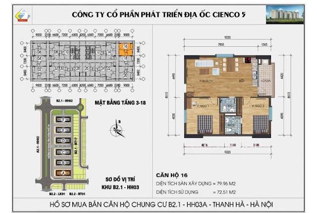 Mặt bằng căn hộ 16 chung cư b2.1 hh03a thanh hà