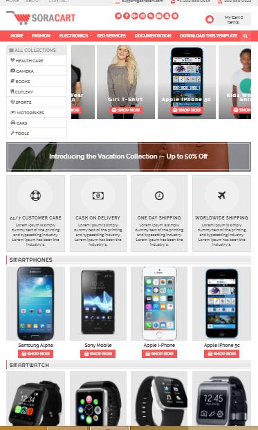 Mẫu template blogspot bán hàng free (SoraCart Shopping Blogger Template)