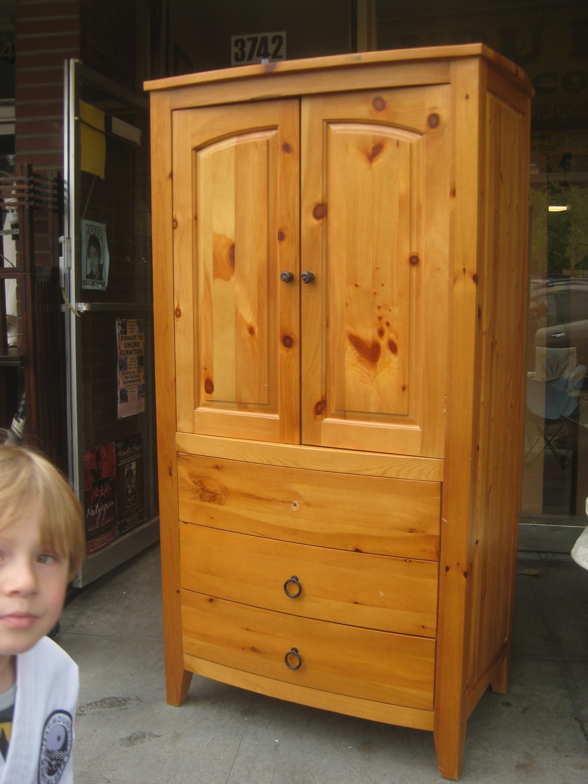 Amazing photo of UHURU FURNITURE & COLLECTIBLES: SOLD Pine TV Armoire $80 with #A76C24 color and 1200x1600 pixels