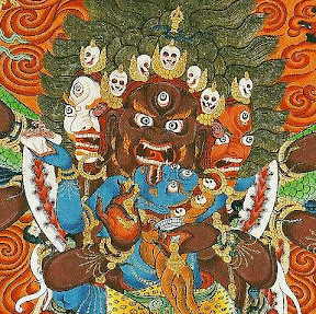 Death Dying and Deceaseditude -- Detail from The Male and Female Primordial Buddhas Mahottra Heruka and Krodhesvari in Union, thangka painted by Shawu Tsering and photographed by Jill Morley Smith are in the private collection of Gyurme Dorje