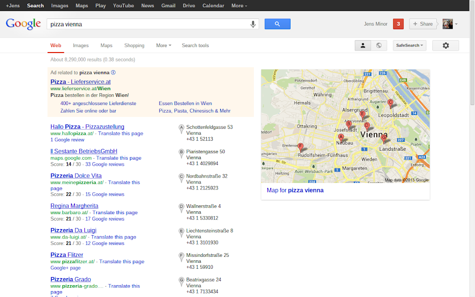 Google Local Search Old