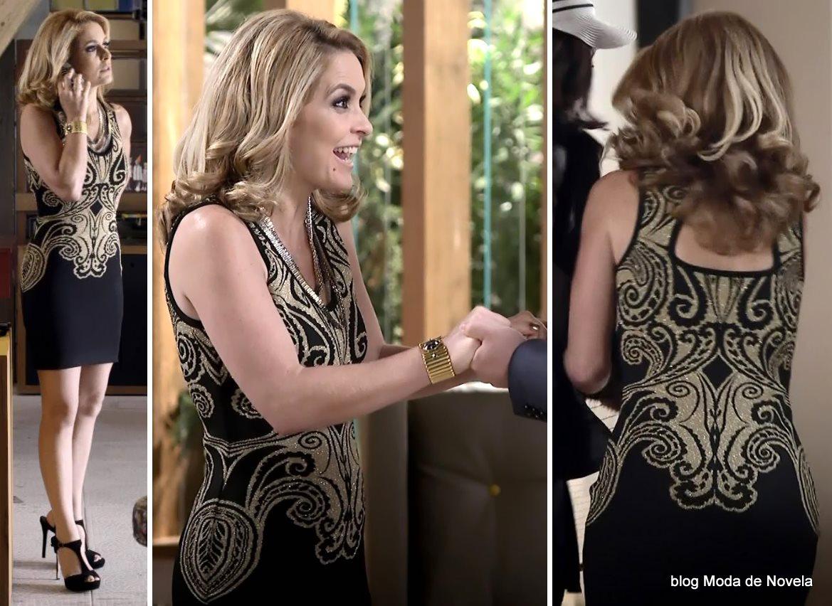 moda da novela Geração Brasil - look da Pamela com vestido preto com bordado dourado dia 7 de julho