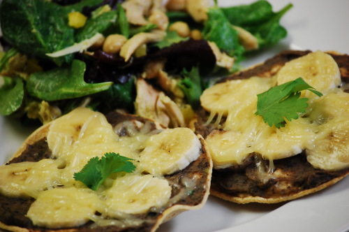 black bean and banana tostadas