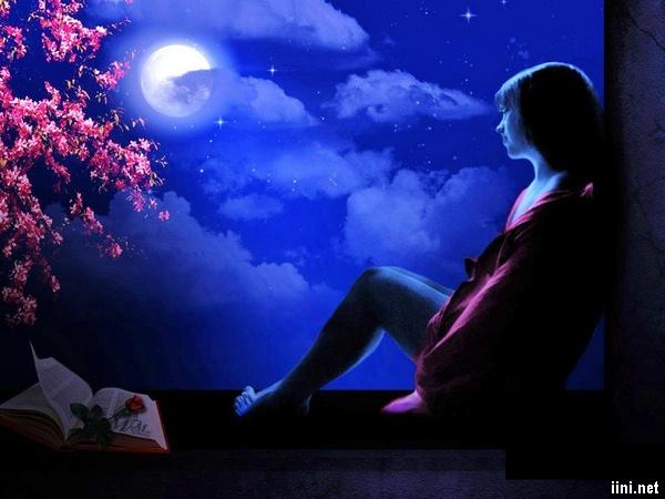 ảnh cô gái xinh đẹp buồn nhìn ngắm trăng trong đêm