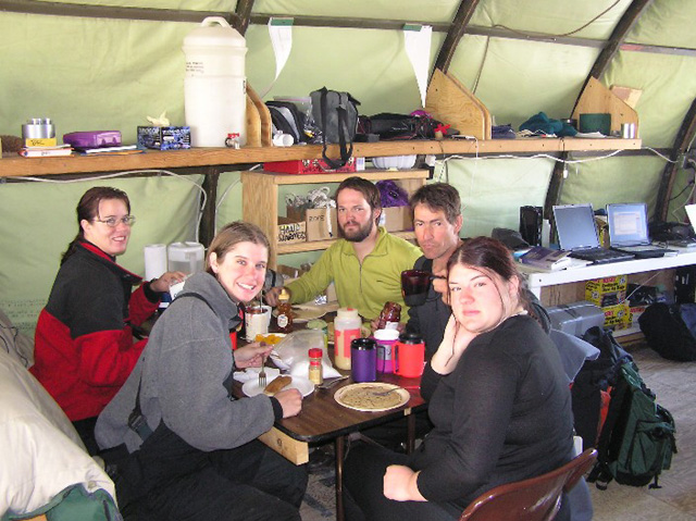Dinner at Lake Fryxell camp, 2004-2005 season.