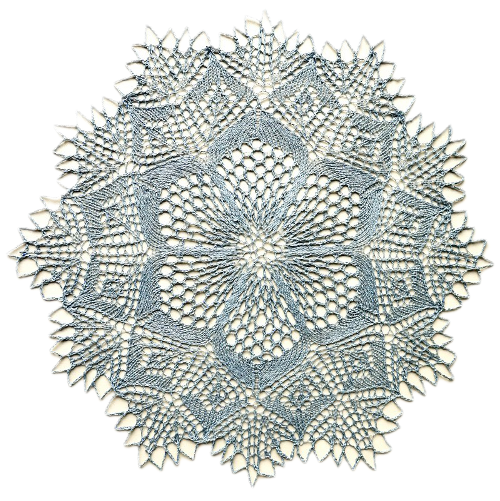 Blue round knitted linen doily