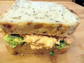 Buffalo Chicken Salad with Avocado and Microgreens Sandwich