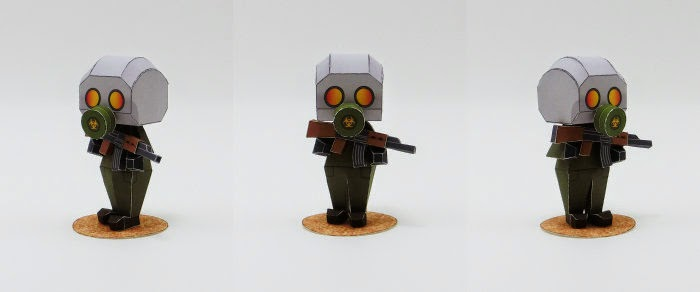 Gas Mask Soldier Papercraft
