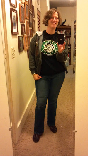 Normal day off: jeans, brown sneakers with white socks, nerdy Starbucks/Klingon t-shirt and a White Lake State Park sweater