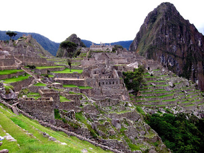 Classic view of the Inca ruins in Machu Picchu Peru
