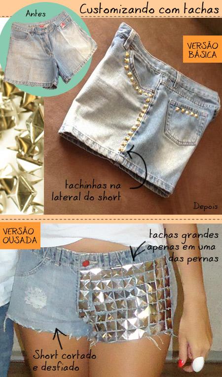 customização de short com tachas