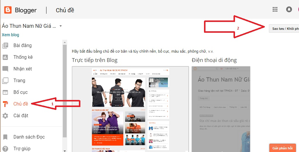 cài đặt template cho blogspot