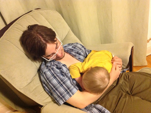 Nursing Jacob to sleep in the rocking chair.