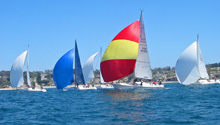 J/105 one-design offshore sailboat- sailing off Chile in Pacific
