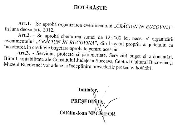 Crăciun în Bucovina 2012 - chermeză de 1,25 miliarde de lei