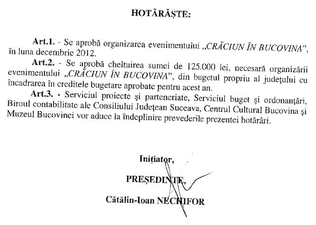 Crăciun în Bucovina 2012 - chermeză de 1,25 miliarde de lei vechi