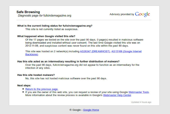 Google Diagnostic Page