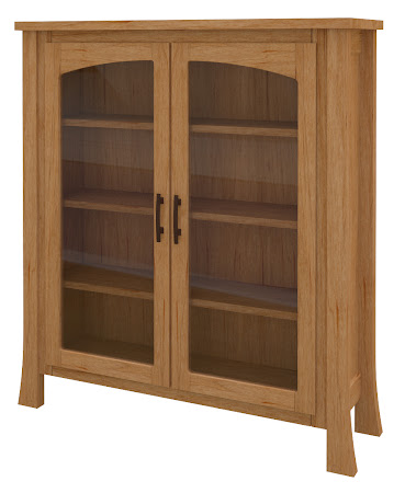 Palermo Glass Door Bookshelf in Calhoun Maple