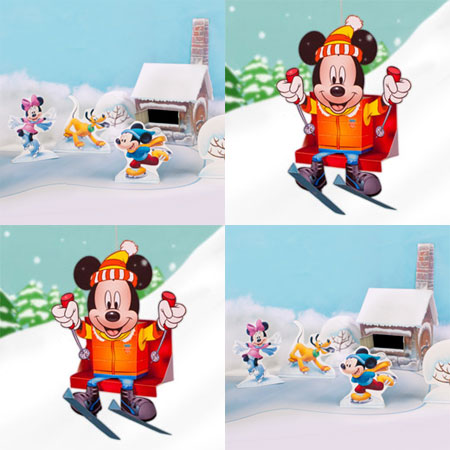 2011 Disney Christmas Mickey Mouse Ice Skating Papercraft