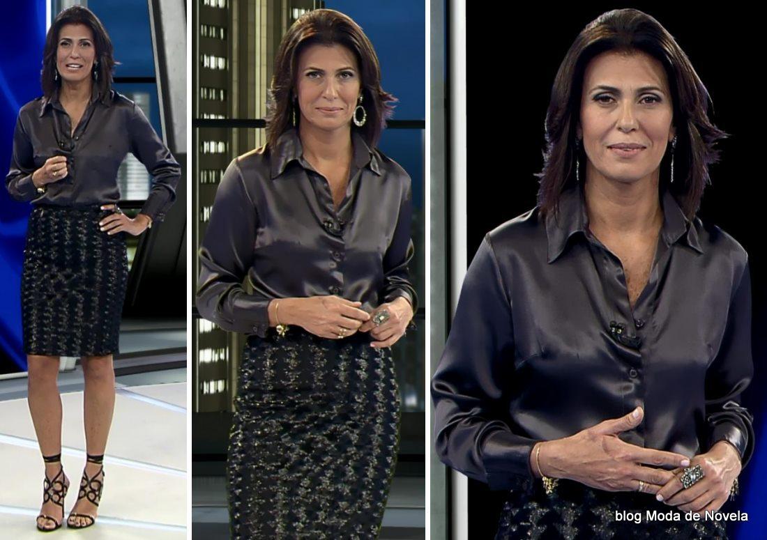 moda do programa Domingo Espetacular - look da Janine Borba dia 1º de junho