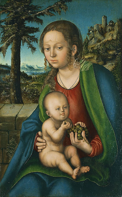 Lucas Cranach the Elder - Virgin and Child with a Bunch of Grapes