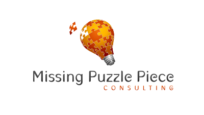 Missing Puzzle Piece : Knowledge management solutions consulting logo design