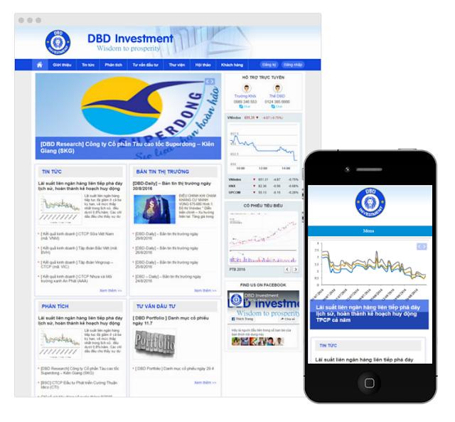 Công ty Thabidu hợp tác thiết kế website chứng khoán DBD investment