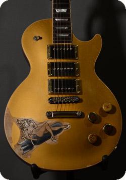Gibson Goldtop Altered Burnmethod Pyro Engraved Wood Burning Nose Art Pin Up Girl Bomb Bottle Cap