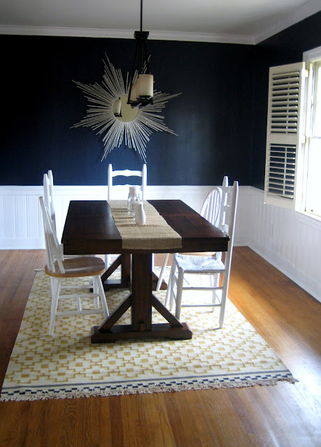 A colorful world bold yeller with michelle from ten june for Navy dining room ideas