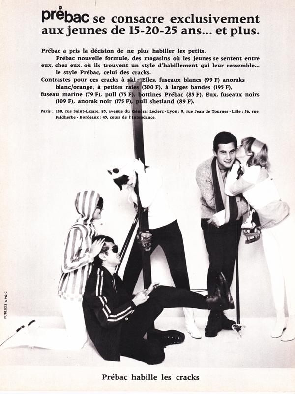 Publicité vintage : Prébac habille les cracks.- Pour vous Madame, pour vous Monsieur, des publicités, illustrations et rédactionnels choisis avec amour dans des publications des années 50, 60 et 70. Popcards Factory vous offre des divertissements de qualité. Vous pouvez également nous retrouver sur www.popcards.fr et www.filmfix.fr
