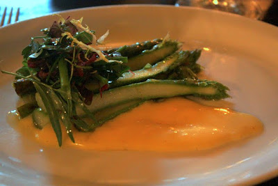 Asparagus starter at the Hotel du Vin restaurant in Bristol England