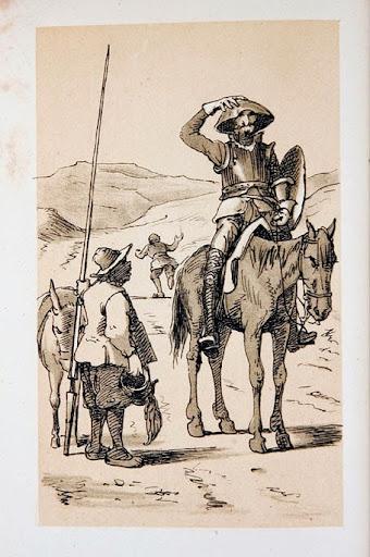 Don Quijote se pone la bacía de barbero en la cabeza que creía ser yelmo de Mambrino