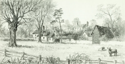 """The Camping Close and Everett's Cottages in High Street and Ingleside in Church Street seen from Studio Garden."" From A Record of Shelford Parva by Fanny Wale P36"
