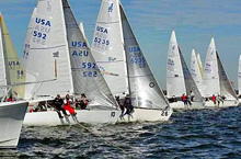 J/24 one-design sailboats- sailing off Jacksonville, FL in North Americans