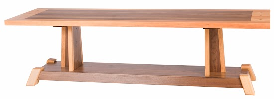Turin Bench in Natural Cherry and Walnut, 60″ Wide x 17″ High x 18″