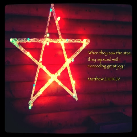 Foil and Wood Christmas Star Decoration