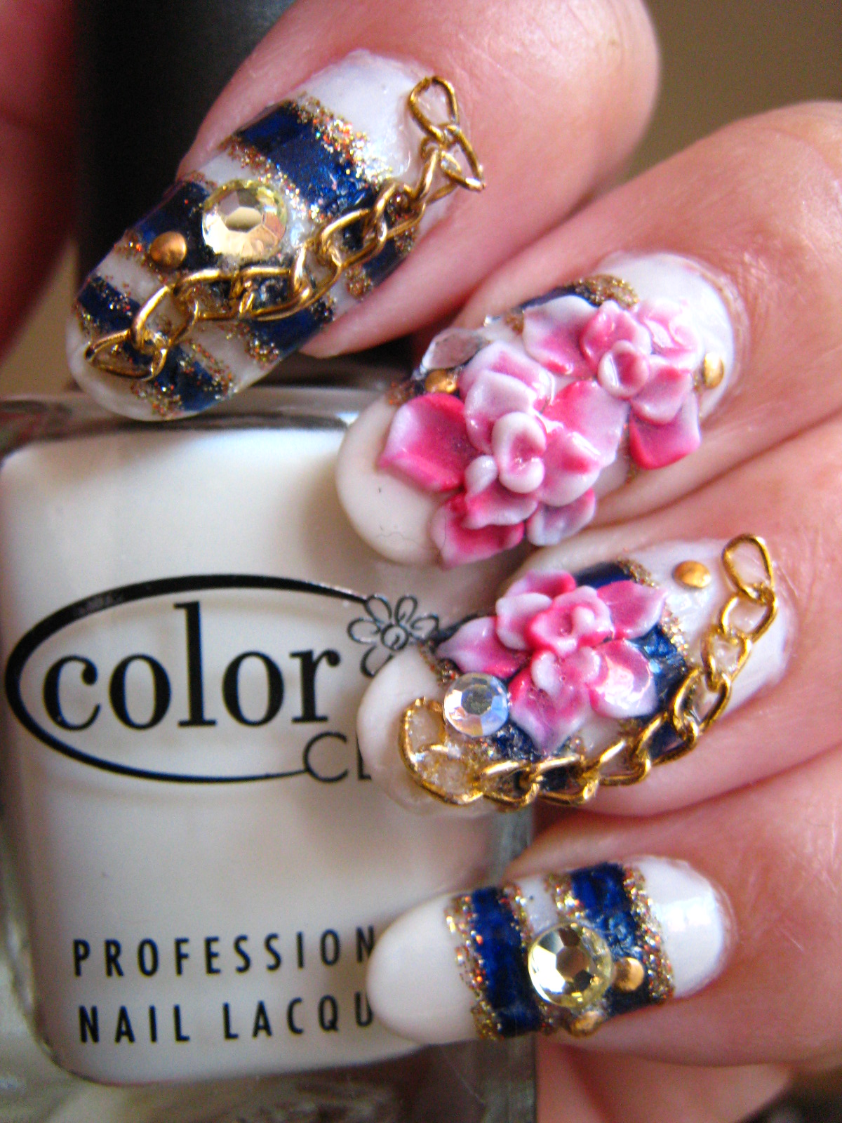 Jin Jin\'s Adventures: Nautical Nail Art with Gold Chain and 3D Flowers