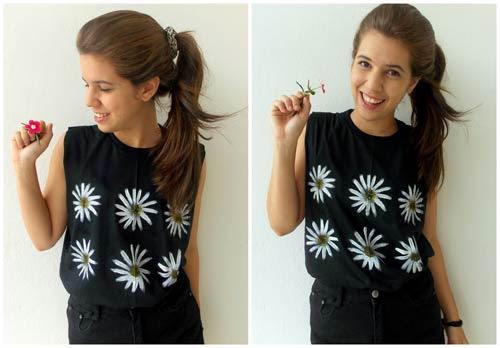 DIY - como fazer camiseta com margaridas