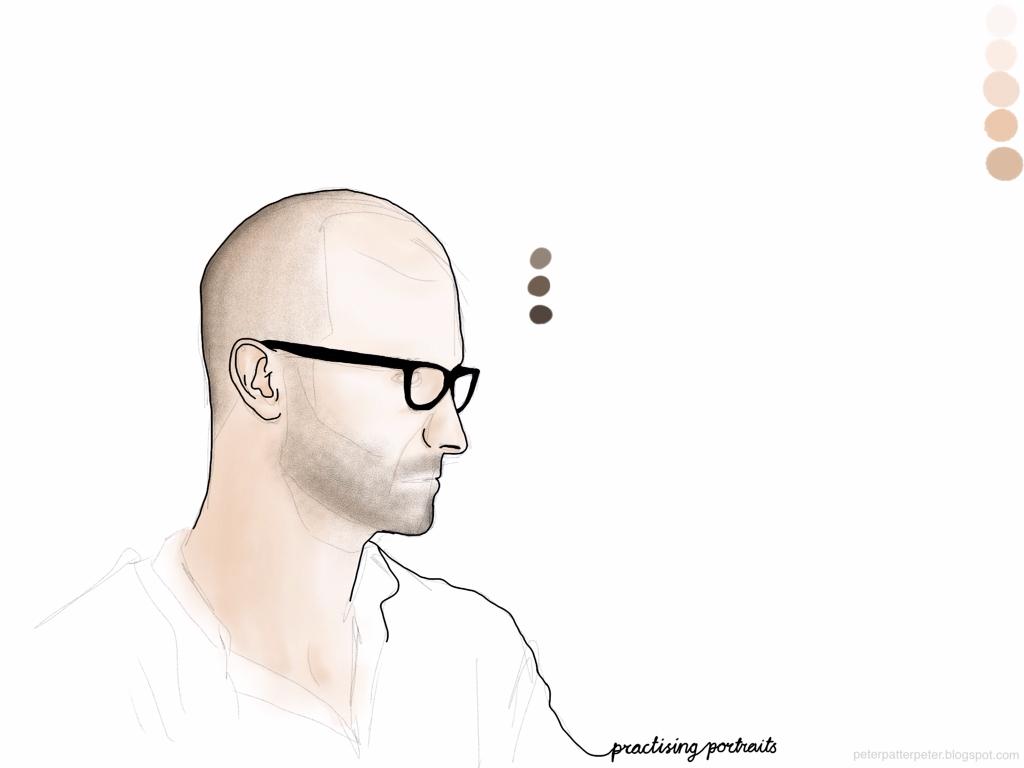 Colouring portrait on iPad