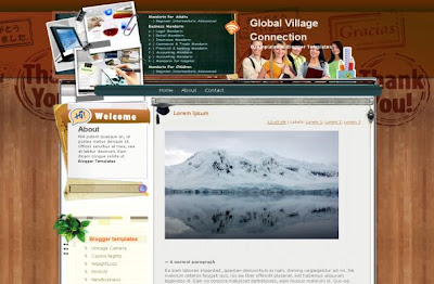 Free Blogger Wooden Education Theme Template