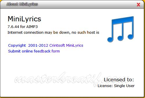 MiniLyrics 7.6.44 Full Version   MASTERkreatif