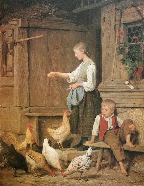 Albert Anker - Mädchen Hühner fütternd 1865