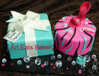 Tiffany blue fondant gift box and pink zebra stripe diva cake with shoe, purses and diamonds lady's birthday cake