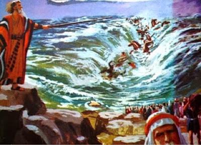 Resultado de imagem para os egípcios se afogando no mar vermelho