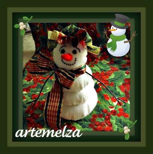 artemelza - boneco de neve de fuxico