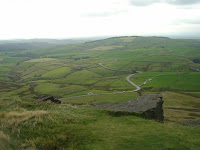 "A paraglider and the ""Cat and Fiddle Road"" from Shining Tor"